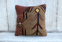 Handmade Kilim PILLOW CUSHION COVER - Turkish Anatolian Decorative Pillow 16""