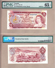 1974 $2 Bank of Canada Multi Color Solid Serial# Note RM5555555 PMG GEM UNC65