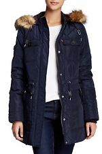 Levi's Faux Fur Hood Diamond Quilted Women's Parka Size S Navy New With Tag $200