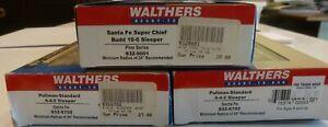 3 Walthers ATSF Santa Fe Streamlined Passenger Sleeper Cars
