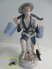 Old Fisherman Carrying Water Buckets Fly Fish Ceramic Sculpture Japanese Chinese