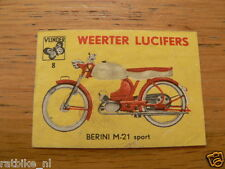 B08 WEERTER LUCIFERS,MATCHBOX LABELS BERINI M21 SPORT BROMFIETS,MOPED