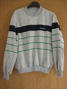 Sweat Adidas Vintage Gris et marine 80'S Acrylique ventex Jersey - S