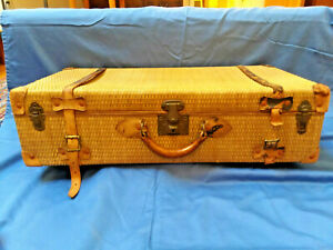 Antique 1900's Rattan Suitcase with leather straps & handle
