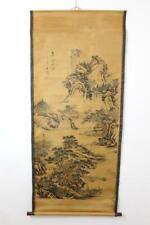 Großes Rollbild aquarellierte Druckgrafik Landschaft Gelehrte China