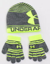 Under Armour Coldgear Gray & Green Knit Beanie & Gloves Youth Boy's 4-7 Yrs NWT