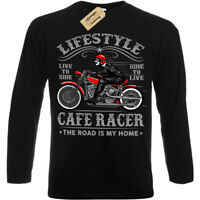 Lifestyle Biker T-Shirt Cafe Racer motorcycle Mens Long Sleeve