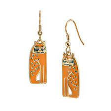 Laurel Burch Mustard Yellow Siamese Cat #5019 Gold Tone Drop Earrings New NWT