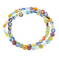 Buntes Blumenmuster Glasperlen Spacer Perlen Anhänger für Kinder DIY