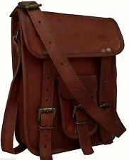 Men's brown messenger Leather satchel Vintage Crossbody Shoulder Bag for i Pad