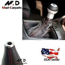 JDM Sports Red Stitch Black Real Leather Mt/Auto Shift Knob Shifter Boot Cover