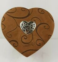 Brighton Heart-Shaped Jewelry Box Faux Suede Brown Metal Heart Medallion on Lid