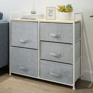 Fabric Bedside Cabinet Metal Frame Storage Unit Chest Of 5 Drawer with Drawers