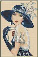 Art Deco Lady with Large Blue Hat Counted Cross Stitch COMPLETE KIT #1-35c