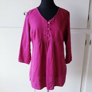 Hot Cotton Size M Fuchsia Pink V Neck Button Tunic Top Long Shirt