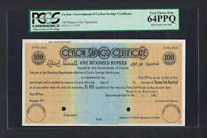 Ceylon - Saving Certificate 100 Rupees 19** Specimen Uncirculated