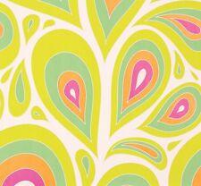 Vlies Tapete Marburg NENA 57201 Retro Desgin Tropfen Weiß Grün Orange Pink