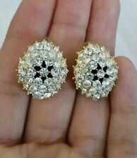 Rhinestone Crystal Cluster Earrings Vintage Jewelry