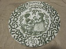 Vintage Royal Crownford Norma Sherman Staffordshire plate Christmas 1980 green