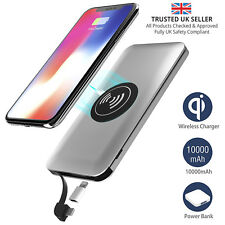 Slimline 10000mAh Qi Wireless Power Bank for 3 device. Lightning and Micro USB