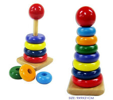 NEW Childrens Wooden Rainbow Stacking Rings Educational Puzzle Toy