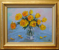 """Yellow roses. Original framed oil on canvas 11""""x14"""" impressionistic painting."""