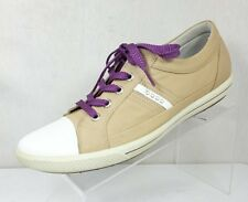 Ecco Women Brown Tan Leather White Cap Toe Casual Golf Shoe 41 10.5 M