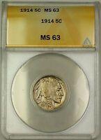 1914 Buffalo Nickel 5c ANACS MS-63 (Better Coin)