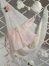 Baby Lace edge Shawl Matinee Coat Bonnet Bootees Knitting Pattern 16-20 4ply 388