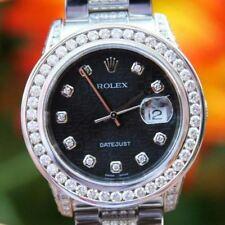 Rolex 36mm Datejust 116234 Mens Steel 18K White Gold Diamond Dial Band Lugs MINT