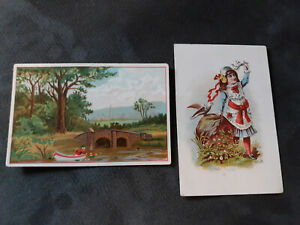 """Pair of """"Oliver Chilled Plow Works"""" Sulky and Walking Plow Trading Cards"""