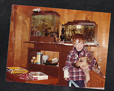Vintage Photograph Cute Little Boy Standing By Fish Tanks w/ Puppy Dog
