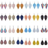 Boho Glitter Sequins Drop Dangle Earrings Leather Teardrop Eardrop Women Jewelry