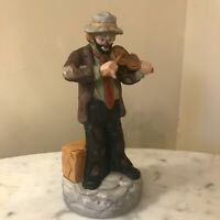 Flambro Emmett Kelly Jr Limited Edition Clown Playing Violin Figurine Music Box