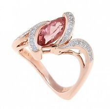 18KT ROSE GOLD MARQUISE SHAPE TOPAZ WITH DIAMOND RING