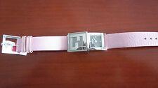 Ladies Fendi Secret Pink Leather Strap Watch, Rectangular Polished S/Steel Case