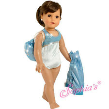 3-Pc Turquoise Gymnastic Exercise Set: Jacket, Leotard, Tote fit American Girl