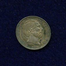NETHERLANDS  WILLIAM III  1864  1/2 GULDEN SILVER COIN, XF++, NICE & ORIGINAL!!