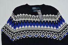 Men's POLO RALPH LAUREN Black Cotton Cashmere Ski Sweater XLarge XL NWT NEW