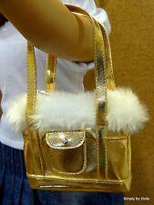 "*Sale* Gold Metallic w/Faux Fur Trim Doll Purse fits 18"" American Girl Doll"