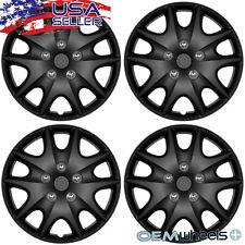 """4 New Matte Black 15"""" Hub Caps Fits Volkswagen Vw Steel Wheel Covers Set Hubcaps"""