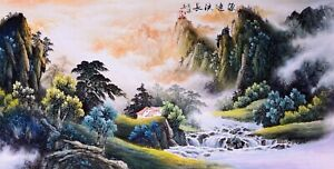 100% ORIENTAL ASIAN FINE ART CHINESE WATERCOLOR PAINTING-Landscape&Mountain view