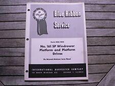 International Harvester Service Manual 161 SP Windrower Platform & Drives Shop