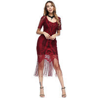 Ladies Vintage Luxe Lace Tassel Flapper Look Style  V-neck Fringe Dress Mid-Calf