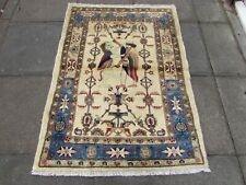 Vintage Traditional Hand Made Oriental Wool Cream Small Pictorial Rug 150x108cm