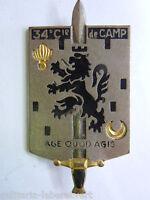 Insigne 34° COMPAGNIE DE CAMP  ARMEE FRANCAISE  ORIGINAL