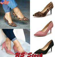 Women Ladies Kitten Heel Court Shoes Pointed Toe Mid High Heel Pumps Work Shoes