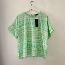 🌈Marina Kaneva Aqua Cream Summer Graphic Aztec Print Blouse Top Asos Sz 16🌈