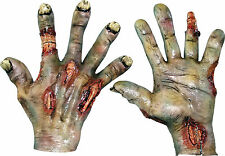 HALLOWEEN ADULT ZOMBIE ROTTED LATEX  HANDS GLOVES MASK PROP HORROR