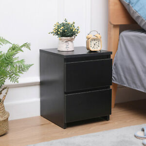 Bedside Tables Nightstand Storage Cabinet w/2 Drawers Wood Bedroom Furniture